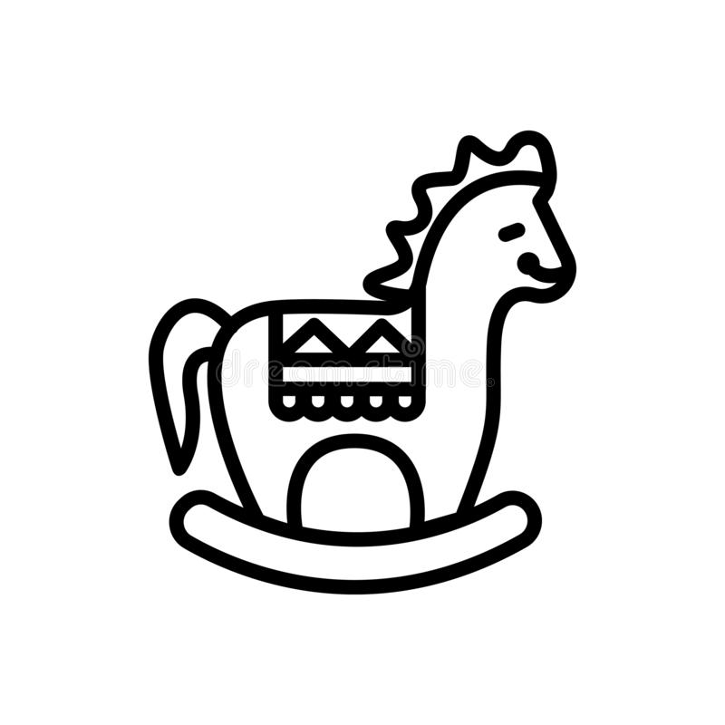 Linea nera icona per il cavallo di legno, fatto a mano ed oscillare illustrazione vettoriale