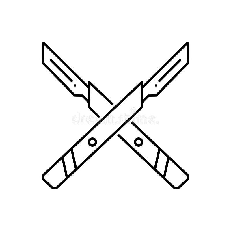 Linea nera icona per il coltello, l'attrezzatura e chirurgico della chirurgia royalty illustrazione gratis