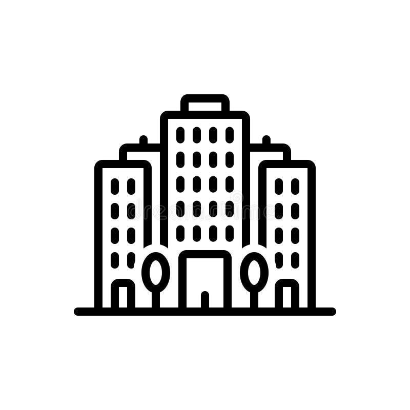 Linea nera icona per il complesso di uffici, l'appartamento e la costruzione royalty illustrazione gratis