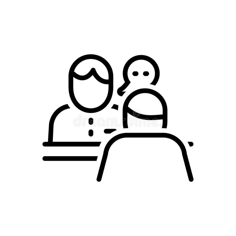Linea nera icona per il consulto, il consulente e la conversazione illustrazione vettoriale