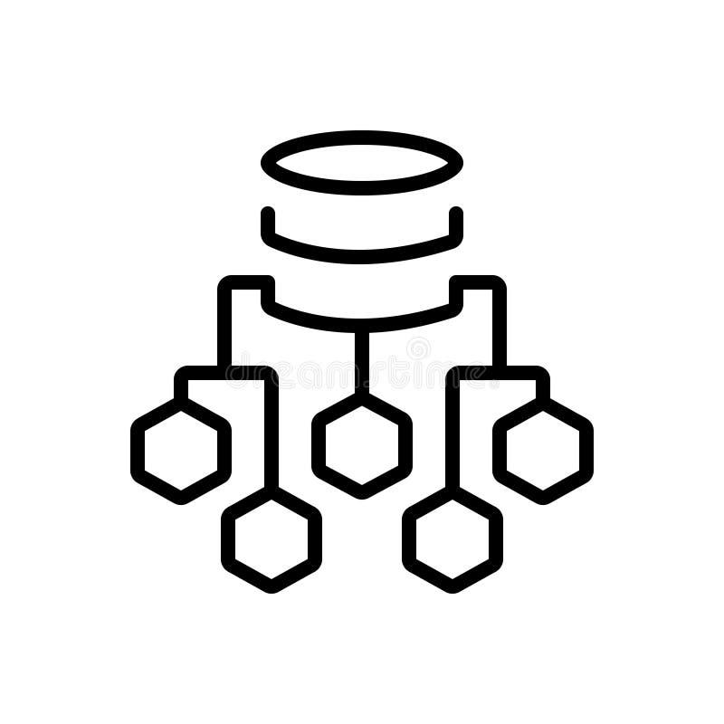 Linea nera icona per il diagramma di flusso, il processo ed il server di dati illustrazione di stock