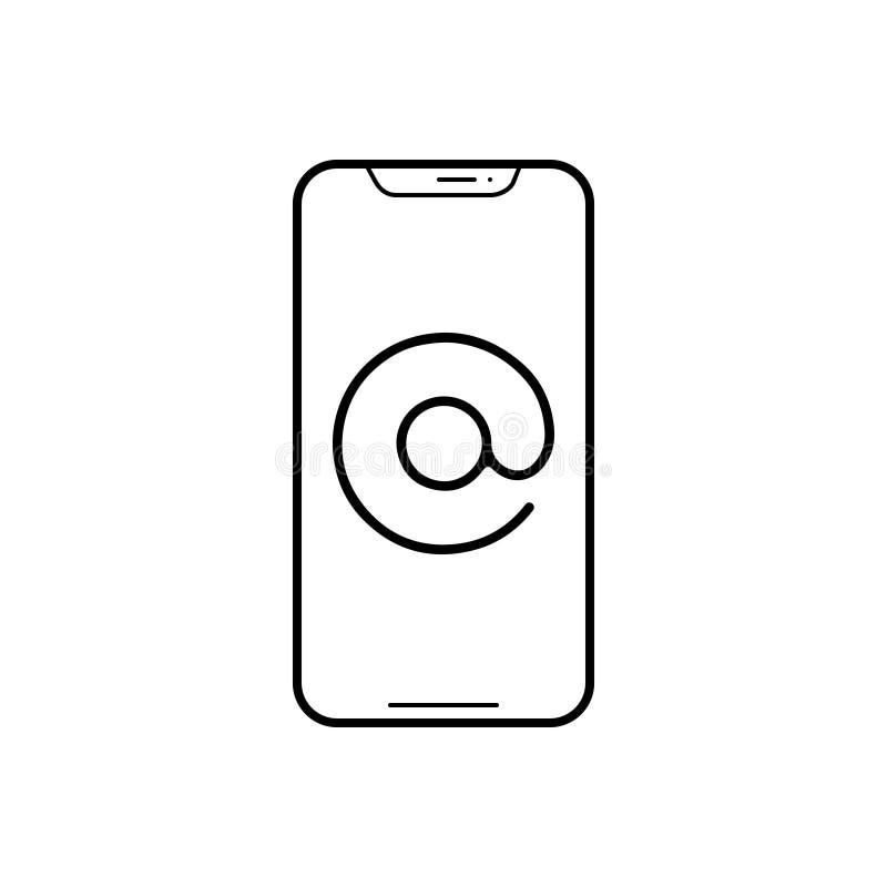 Linea nera icona per il indirizzo email, il iphone ed il messaggio illustrazione di stock