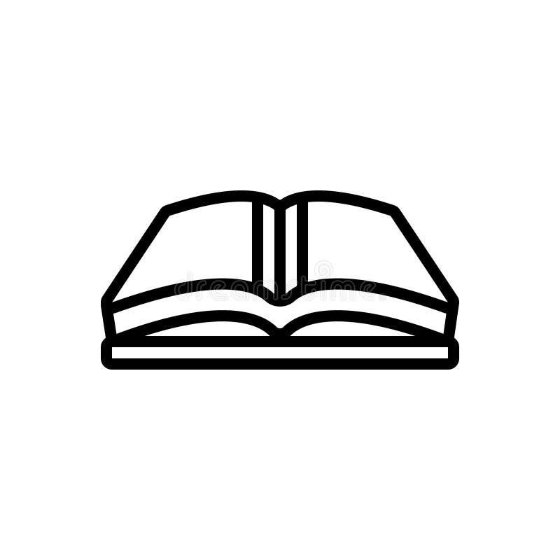 Linea nera icona per il libro aperto, il libro e la rivista illustrazione di stock