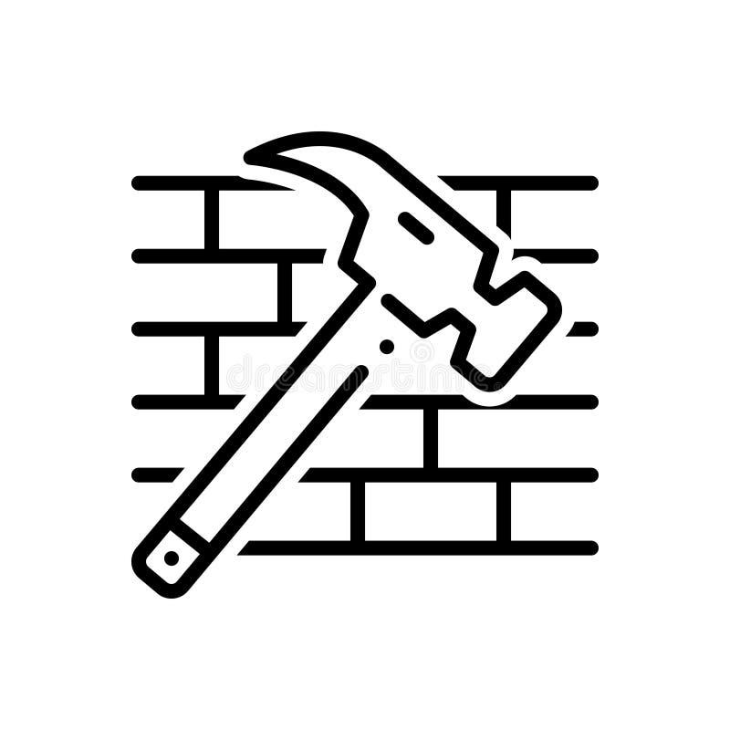 Linea nera icona per il martello, nociva ed i mattoni illustrazione di stock