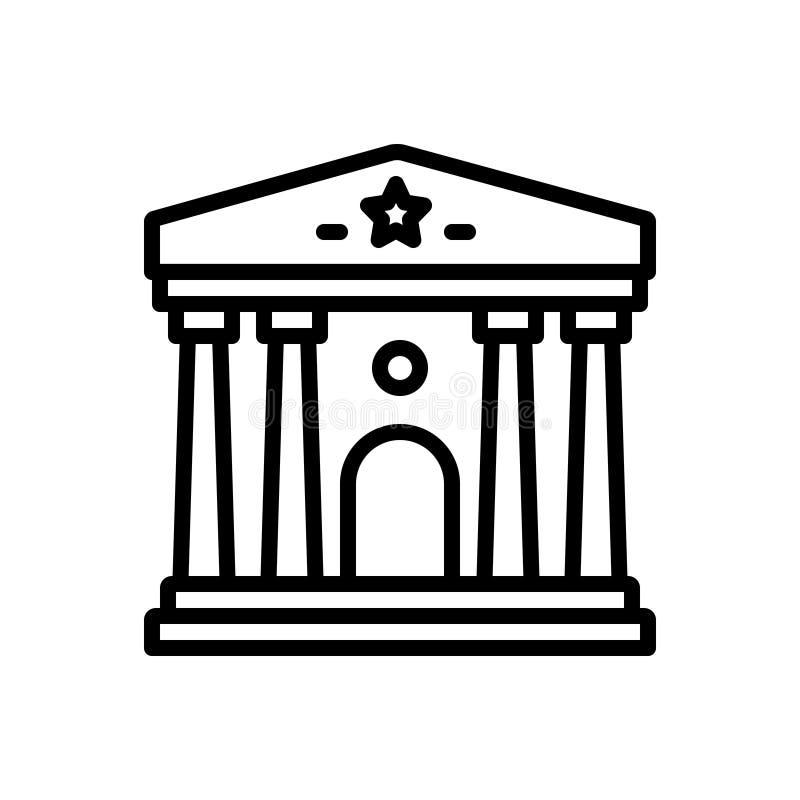 Linea nera icona per il museo, la galleria e la mostra illustrazione vettoriale
