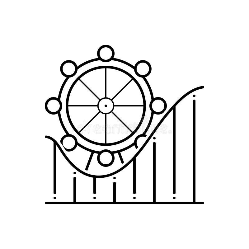 Linea nera icona per il parco di divertimenti, la ricreazione ed il parco royalty illustrazione gratis