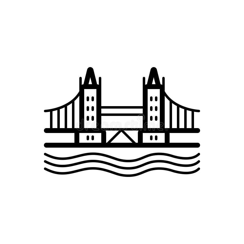 Linea nera icona per il ponte, il punto di riferimento e la torre di Londra illustrazione vettoriale
