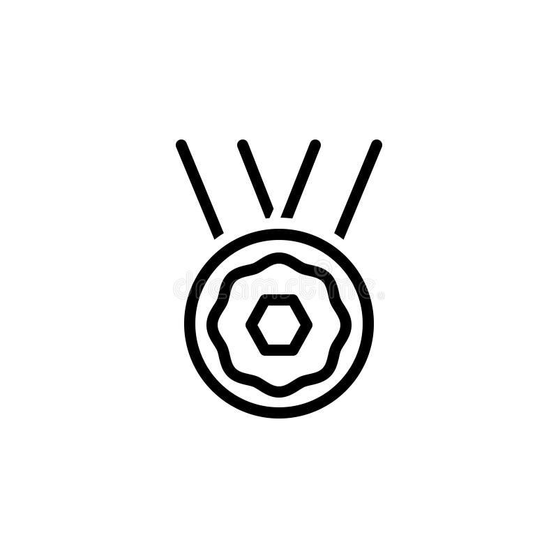 Linea nera icona per il premio, la ricompensa e la medaglia illustrazione vettoriale