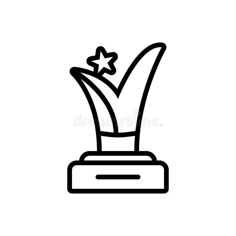 Linea nera icona per il premio, il vincitore e la ricompensa illustrazione di stock