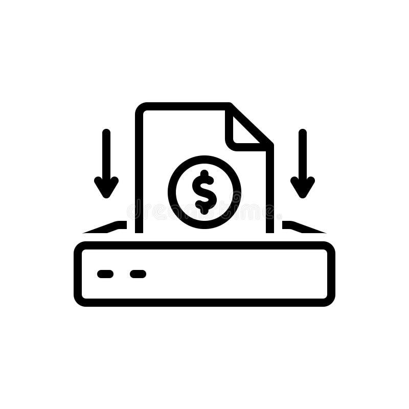 Linea nera icona per il progetto di investimento, l'investimento ed il contributo royalty illustrazione gratis