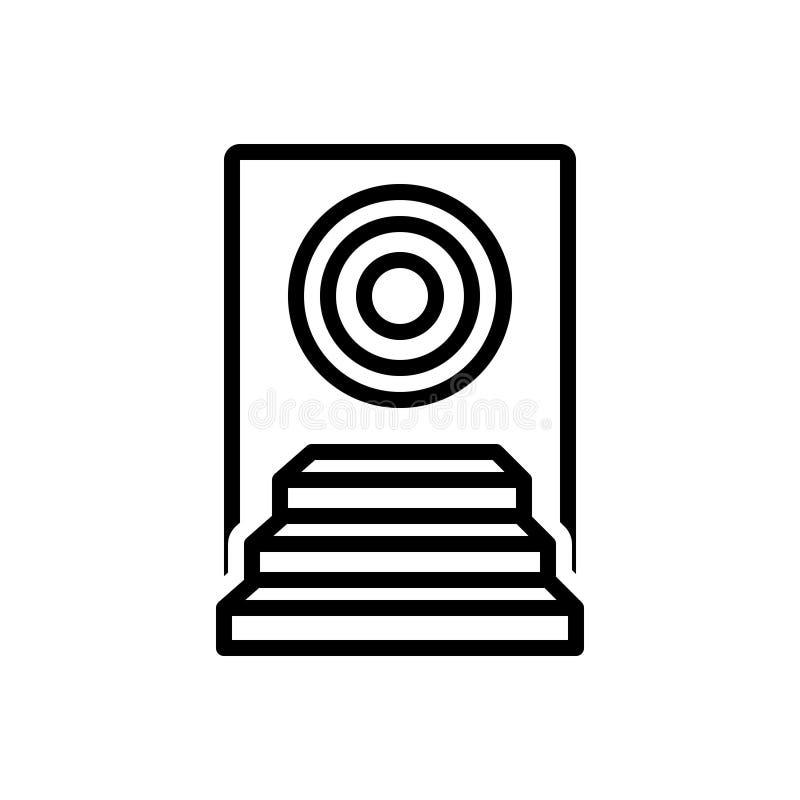 Linea nera icona per il risultato, il successo ed il premio illustrazione vettoriale