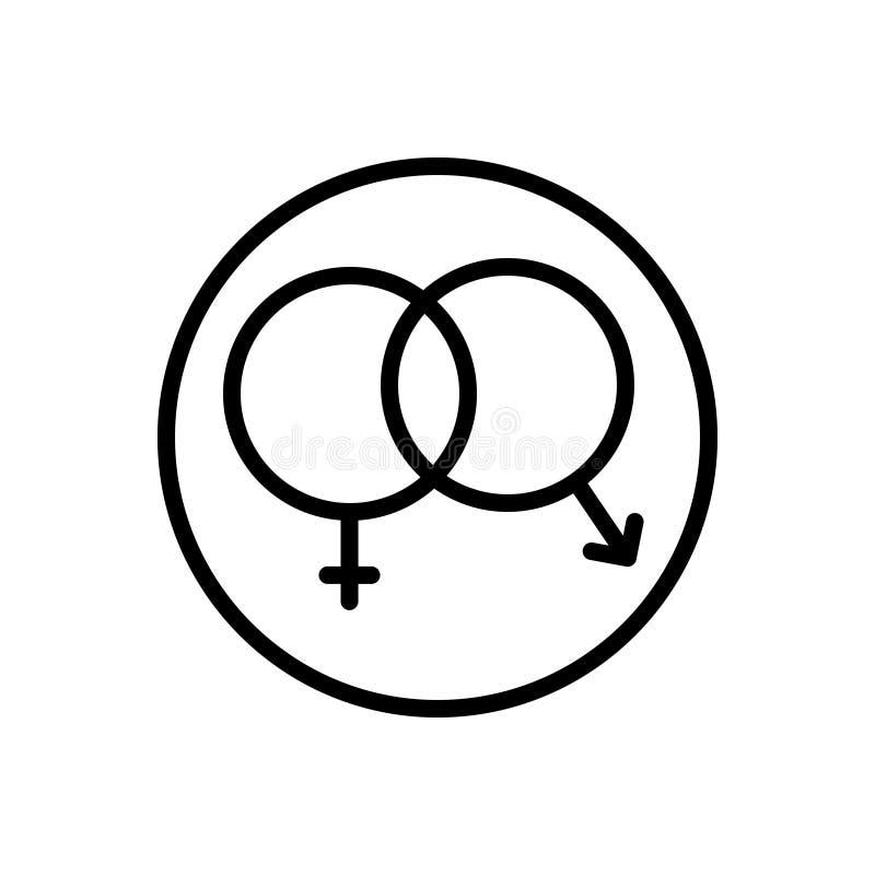 Linea nera icona per il sesso, unisex ed eterosessuale illustrazione di stock