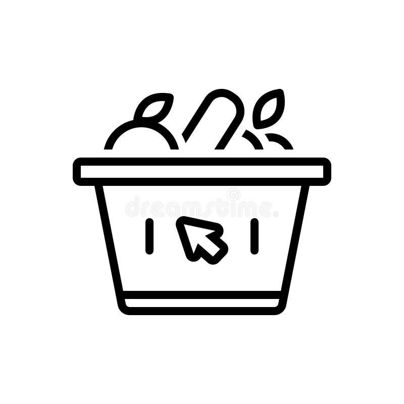 Linea nera icona per il supermercato, la varietà e la drogheria illustrazione di stock