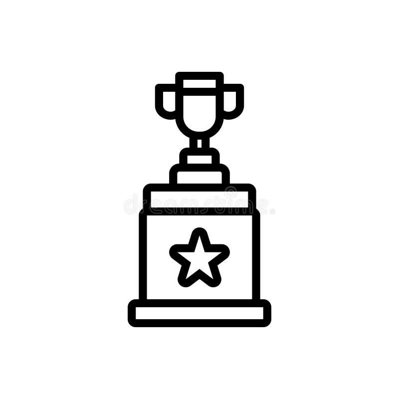 Linea nera icona per il vincitore, il premio ed il premio illustrazione vettoriale
