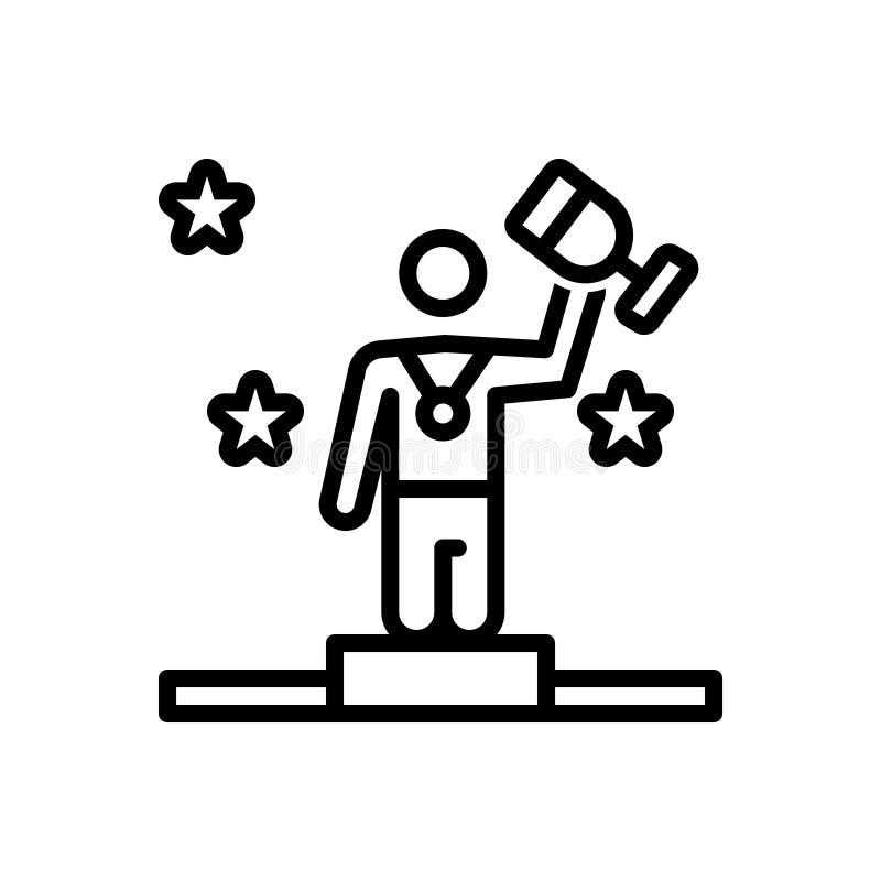 Linea nera icona per il vincitore, il premio ed il successo illustrazione di stock