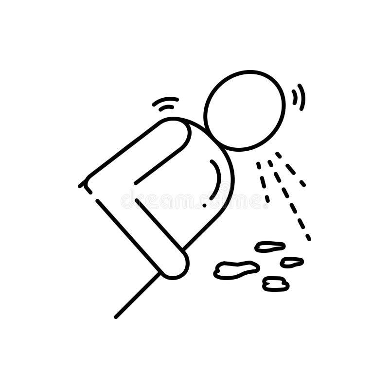 Linea nera icona per il vomito, la nausea e la diarrea illustrazione di stock