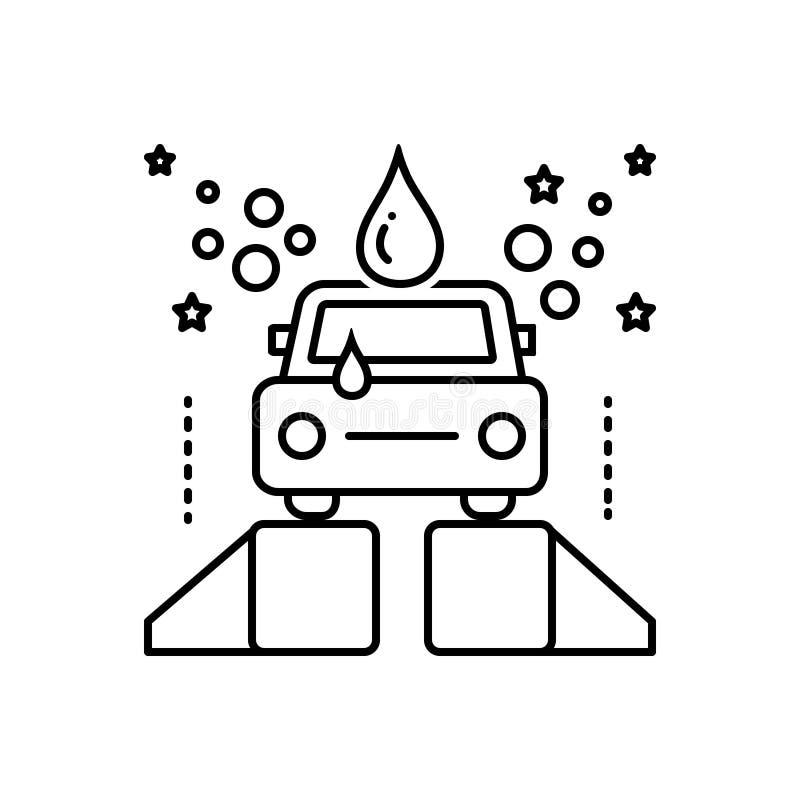 Linea nera icona per il wase, la pulizia e l'occupazione dell'automobile illustrazione di stock