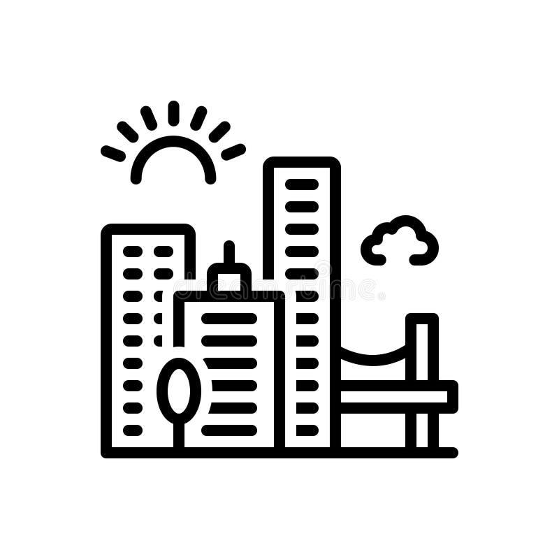 Linea nera icona per Jacksonville, orizzonte e paesaggio urbano royalty illustrazione gratis