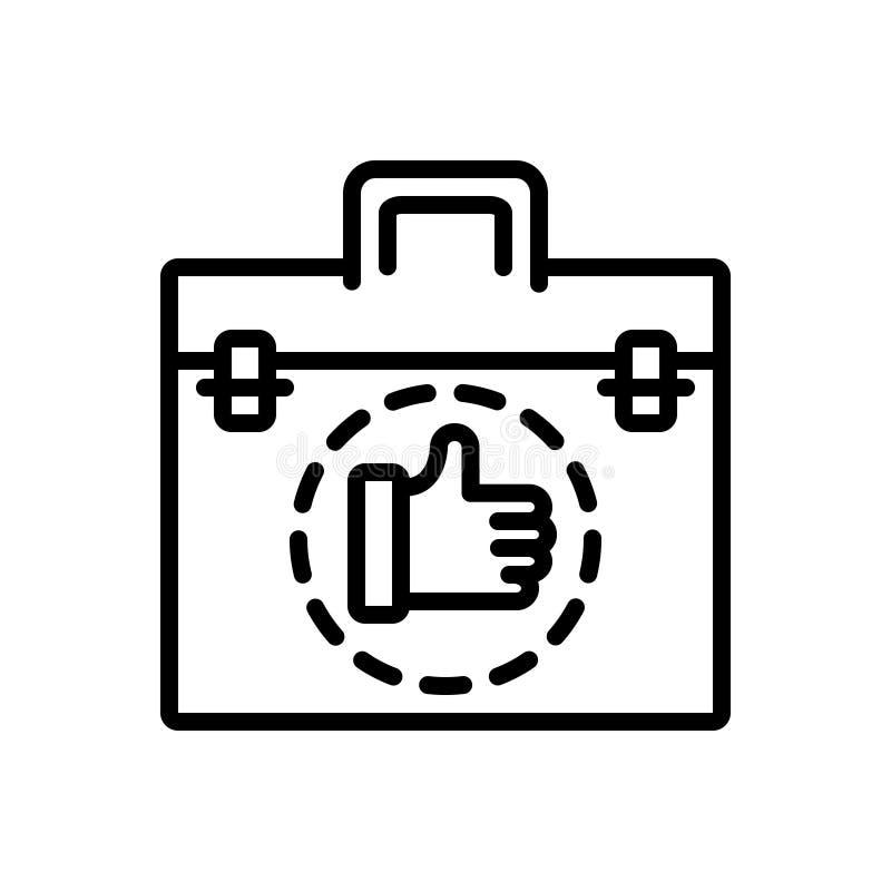 Linea nera icona per l'affare, l'affare ed il commercio illustrazione vettoriale