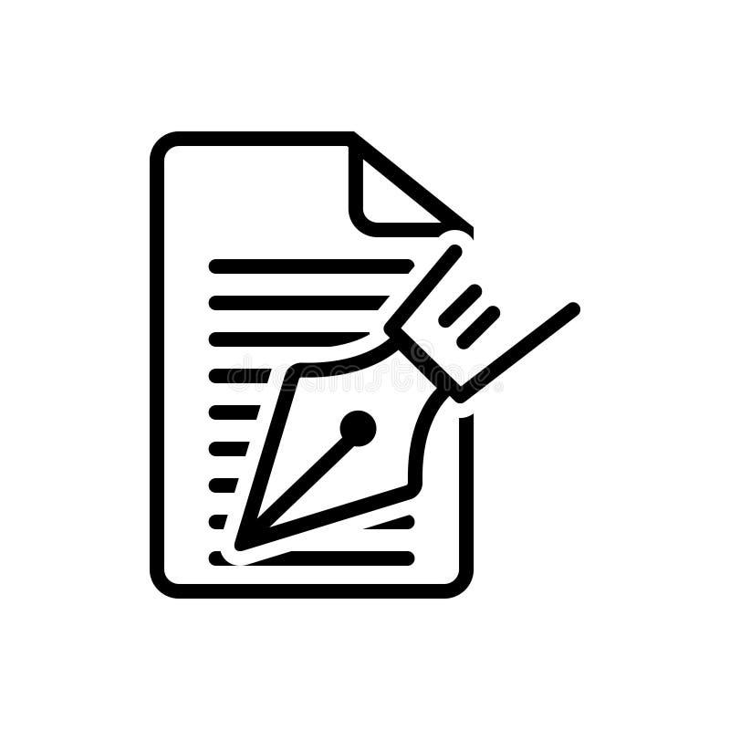 Linea nera icona per l'editoriale, la nota e lo scrittore illustrazione di stock