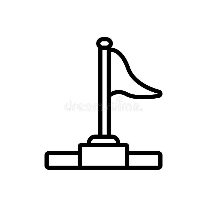 Linea nera icona per la bandiera, la realizzazione ed il risultato di successo royalty illustrazione gratis
