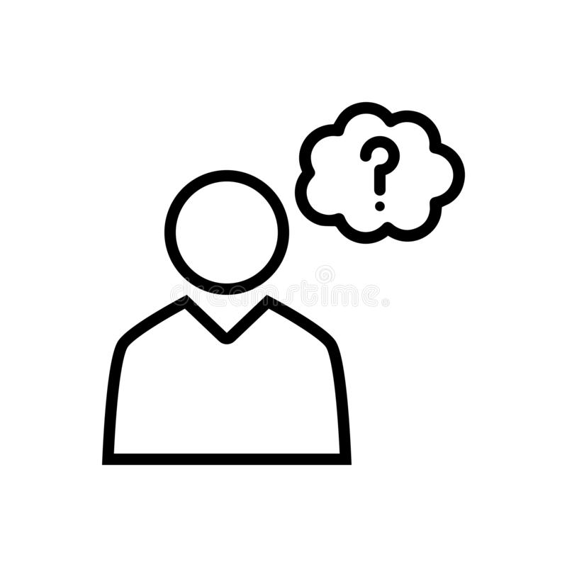 Linea nera icona per la congettura, la preoccupazione e la preoccupazione royalty illustrazione gratis