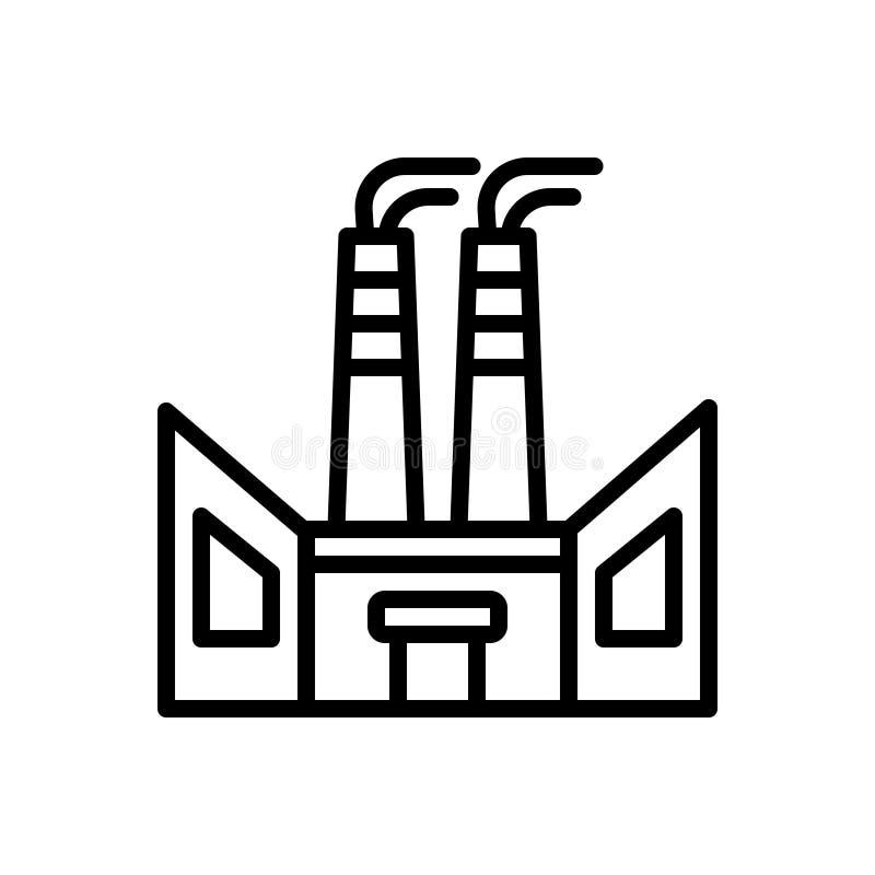 Linea nera icona per la fabbrica, l'industria e la produzione illustrazione vettoriale