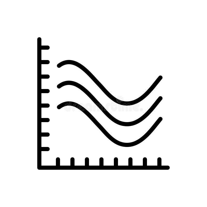 Linea nera icona per la linea grafico, infographic e crescita illustrazione vettoriale