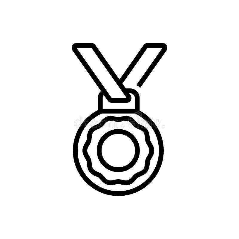Linea nera icona per la medaglia, il premio e il winnere illustrazione di stock