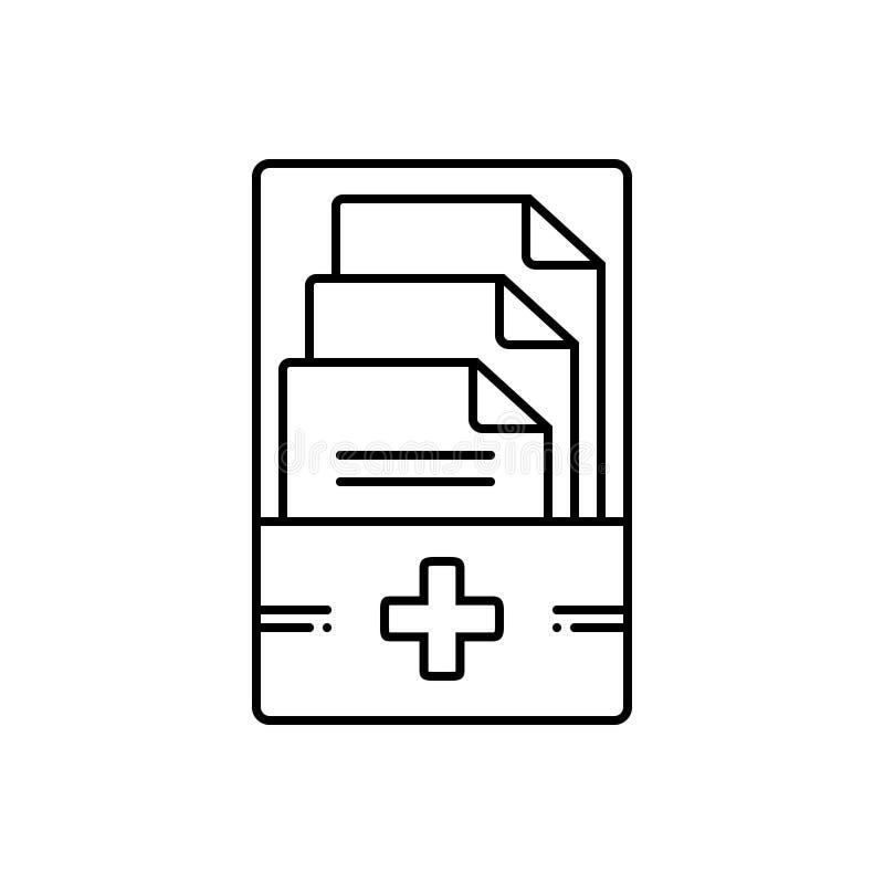 Linea nera icona per le cartelle sanitarie, le informazioni e la gestione royalty illustrazione gratis