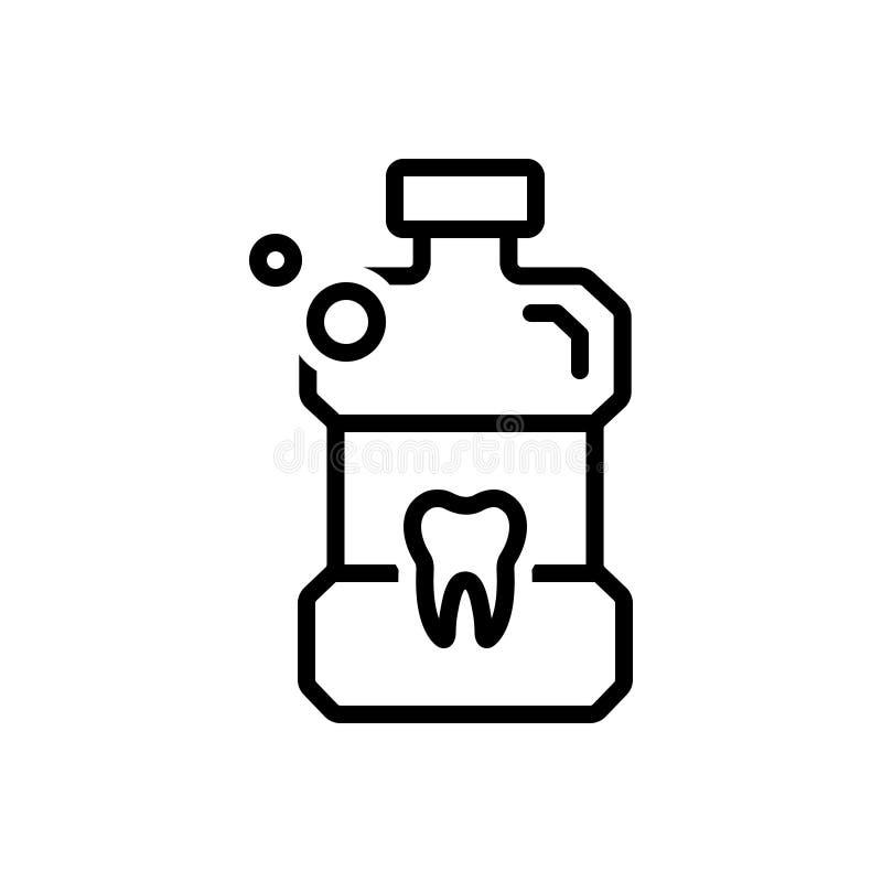 Linea nera icona per Listerine, colluttorio e la bottiglia illustrazione vettoriale