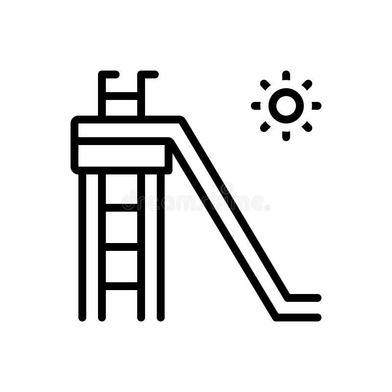 Linea nera icona per lo scorrevole, la scivolata e lo scivolo royalty illustrazione gratis