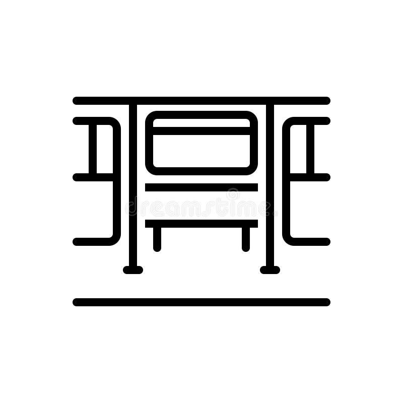 Linea nera icona per lo strato, il carrello ferroviario e la vettura illustrazione vettoriale