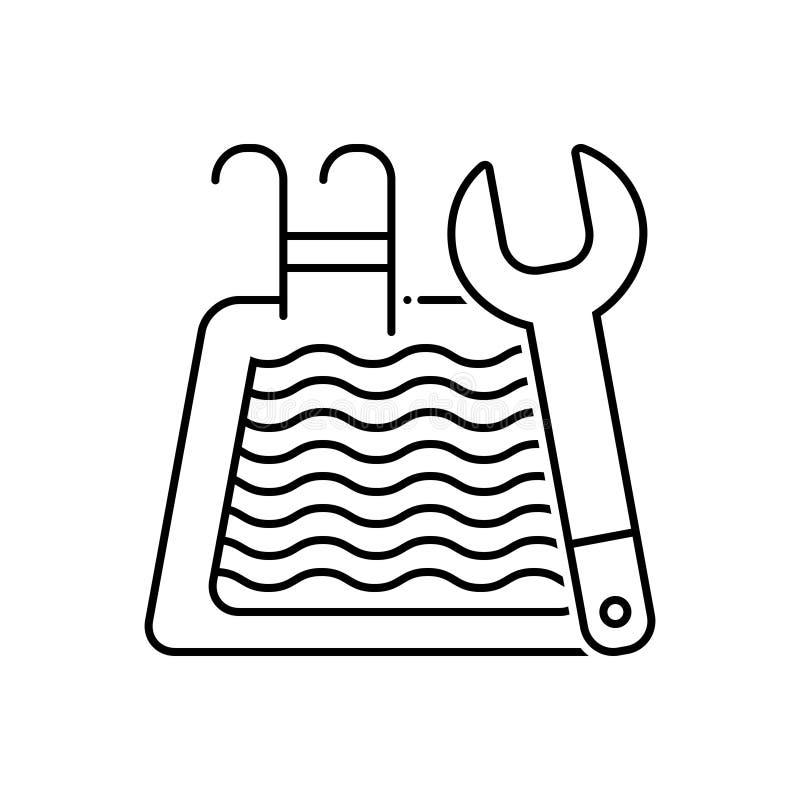 Linea nera icona per manutenzione dello stagno, pulito e lo stagno royalty illustrazione gratis