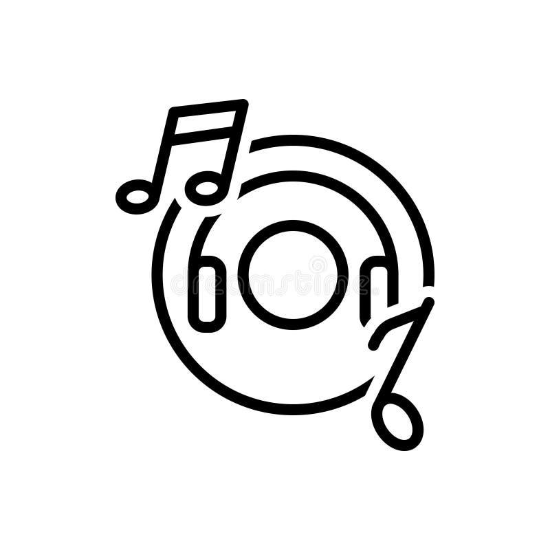 Linea nera icona per musica, spettacolo ed ascoltare illustrazione di stock