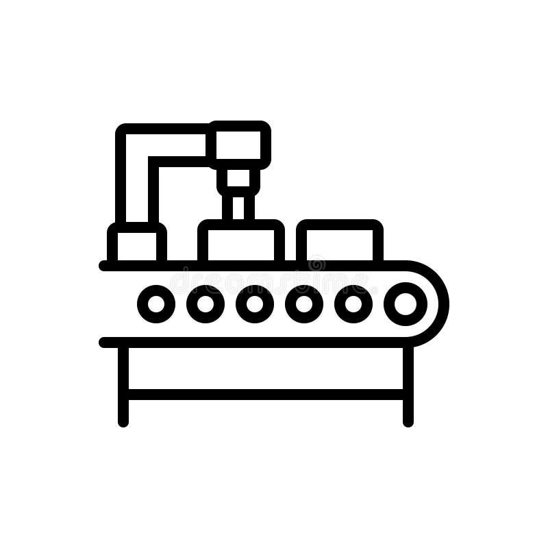 Linea nera icona per produzione, fabbricazione e la fabbricazione royalty illustrazione gratis