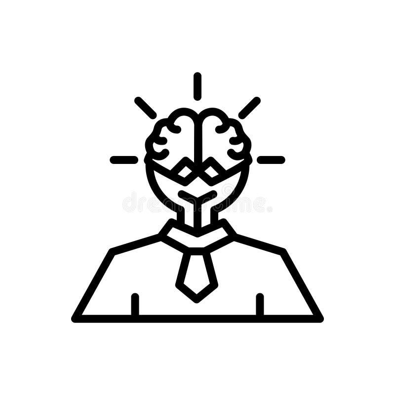 Linea nera icona per Smart, le idee ed il consiglio royalty illustrazione gratis