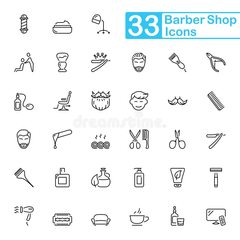 Linea nera icone del parrucchiere Linea sottile icone fotografia stock libera da diritti