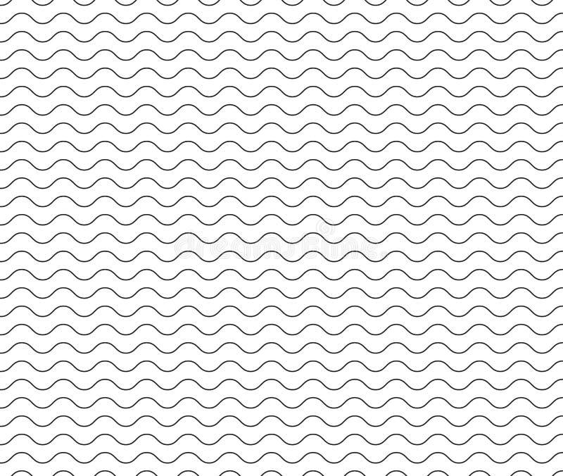 Linea nera modello dell'onda linea ondulata senza cuciture nera fondo illustrazione vettoriale