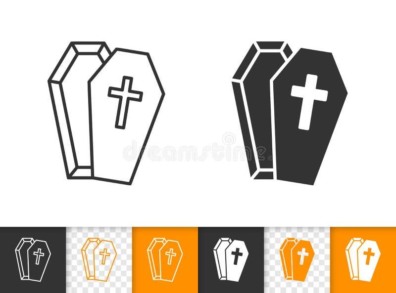 Linea nera semplice icona della bara di vettore di Halloween illustrazione vettoriale