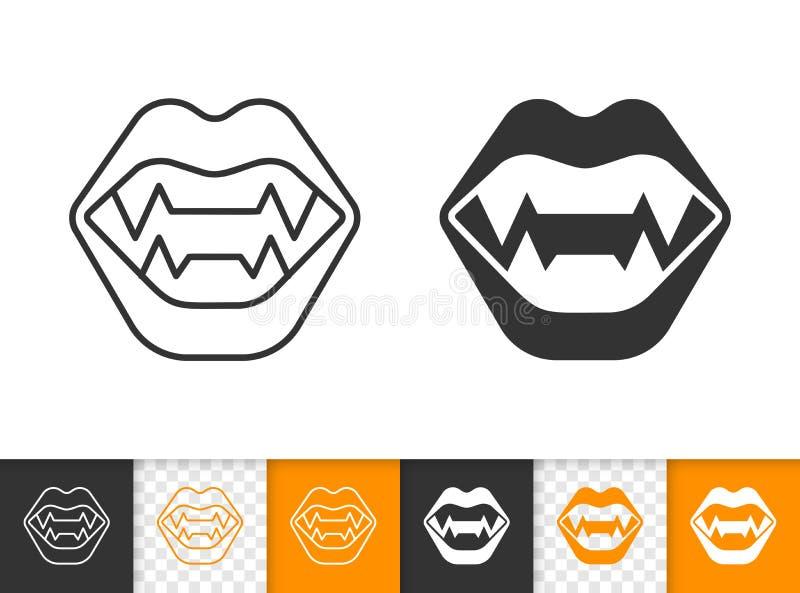 Linea nera semplice icona delle zanne del vampiro di vettore royalty illustrazione gratis