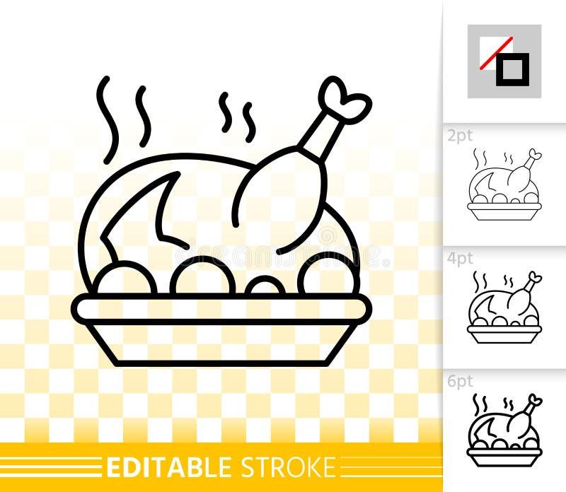 Linea nera semplice icona di Fried Turkey di vettore royalty illustrazione gratis