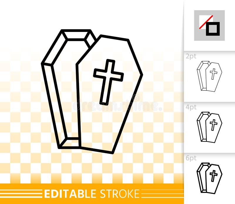Linea nera semplice icona di Halloween della bara di vettore illustrazione vettoriale