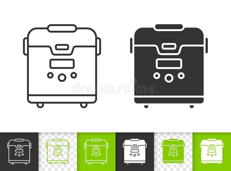 Linea nera semplice icona di Multicooker di vettore illustrazione vettoriale