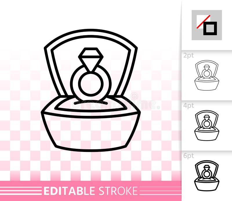 Linea nera semplice icona di Ring In Box di vettore di proposta illustrazione di stock