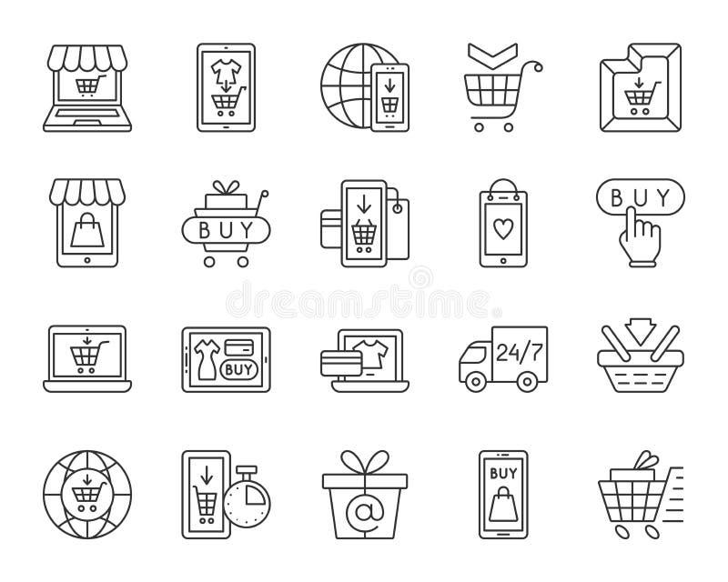 Linea nera semplice insieme del negozio online di vettore delle icone illustrazione di stock