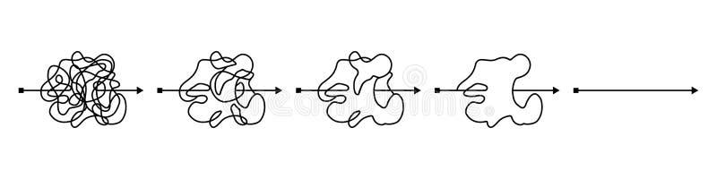 Linea nera sudicia insana, modo complicato della bugna Facilitazione della confusione Percorso aggrovigliato dello scarabocchio D illustrazione vettoriale