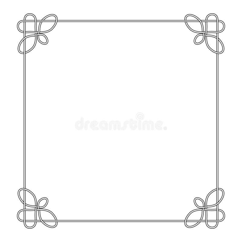 Linea nodo celtico di vettore della struttura del confine di deco con la struttura calligrafica dell'elemento di progettazione de royalty illustrazione gratis