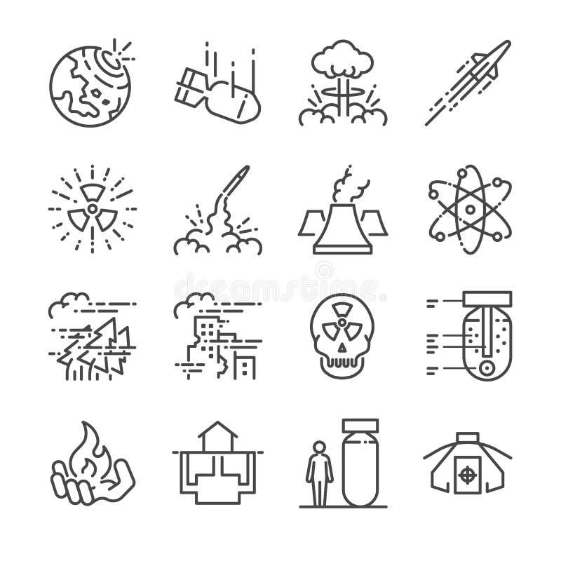 Linea nucleare insieme dell'icona Ha compreso le icone come la bomba nucleare, il missile, radioattivo, riparo, effetto della bom illustrazione di stock