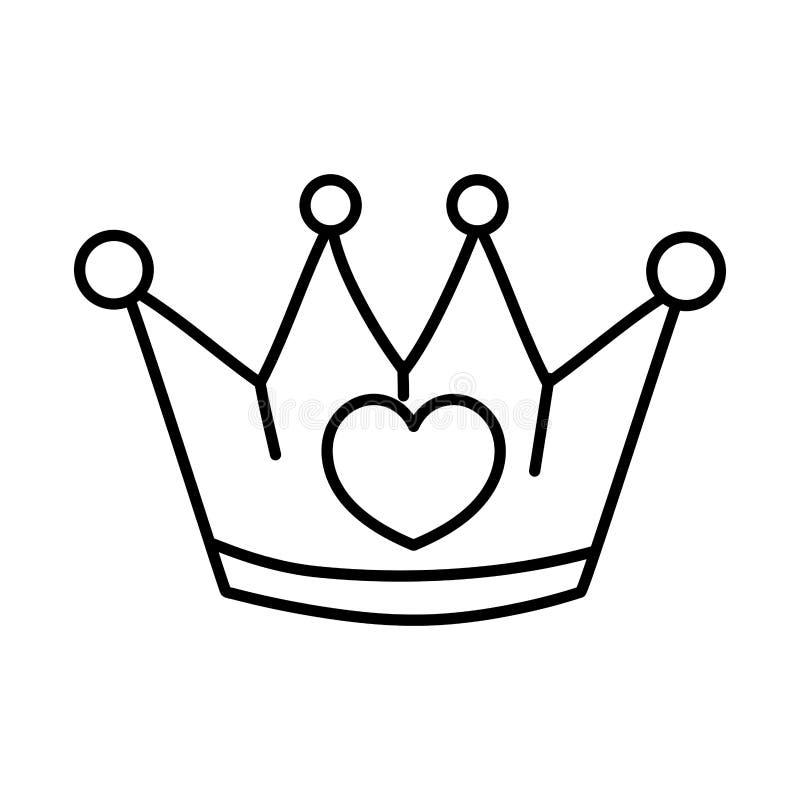 Linea oggetto della corona del metallo con progettazione del cuore illustrazione di stock